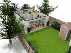 Granny Annexe Plan in garden setting