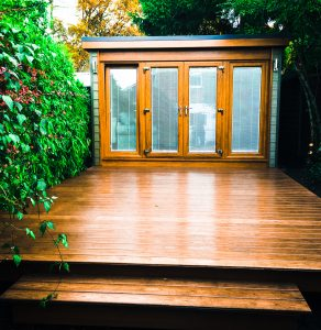 Garden Office with large decking area.