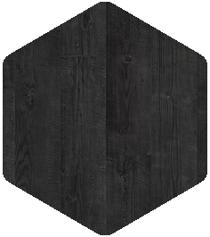 Burned plank flooring sample from Products and Finishes Brochure.