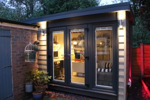 Contact The Green Room - Garden Office/Hobby Room in olive and anthracite grey.