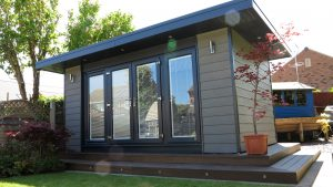 Grey insulated garden room office