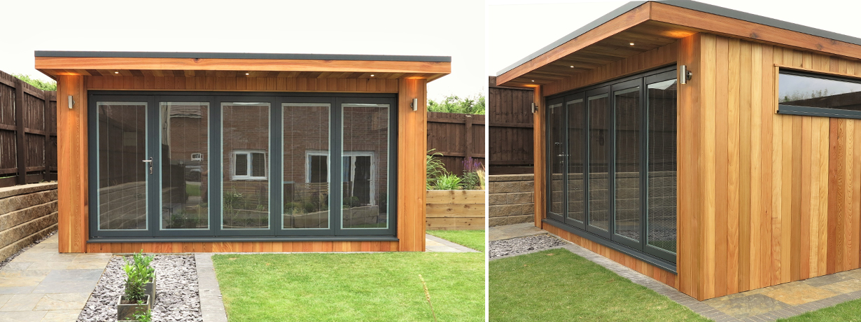 modular garden office. western red cedar garden room. modular office f