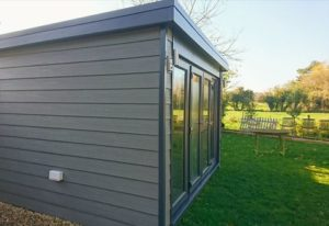 Garden Art Room grey cladding Anthracite grey frames.s